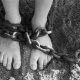 woman feet in shackles